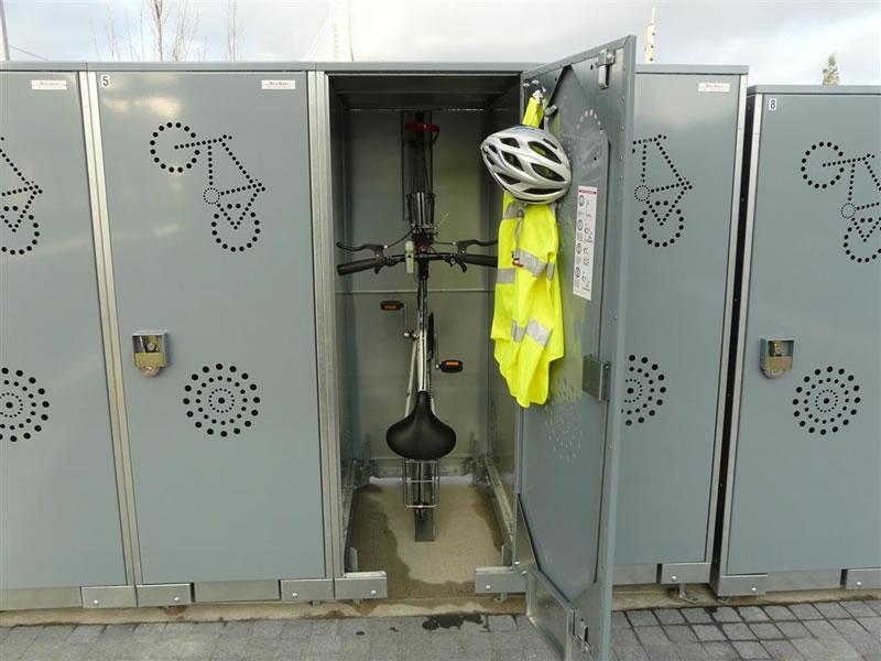 BikeLocker.ie with Bike and Helmet inside